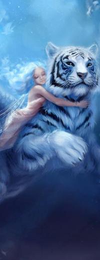 Обои Белый сказочный тигр, его за шею обнимает девочка
