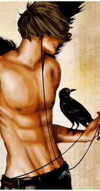 Обои Парень с оголенным торсом и вороном на руке