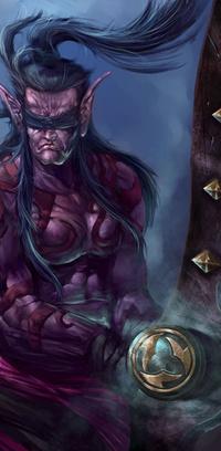 Обои старый мускулистый эльф со странным оружием