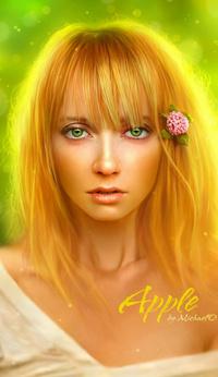 Обои Девушка с цветком в причёске-Apple by Michael