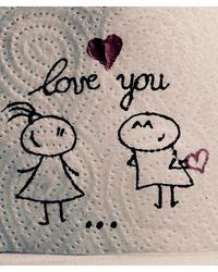 Обои Рисунок на туалетной бумаге Love you