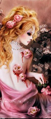 Обои Нежная девушка израненная шипами роз