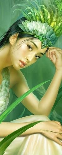 Обои Девушка с зелёными перьями