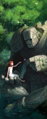 Обои Девочка с каменным монстром