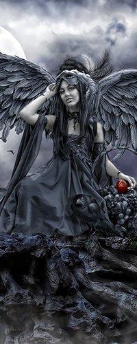 Обои Тёмный ангел держит в руке яблоко
