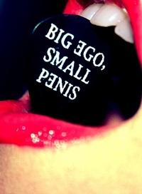Аватар вконтакте Девушка держит в зубах значок с надписью BIG EGO, SMALL PENIS