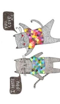 Аватар вконтакте Нарисованные коты с надписями I HATE YOU -YOU LOVE ME