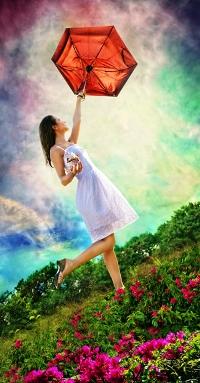 Аватар вконтакте Девушка с красным зонтом на природе