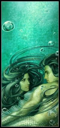 Обои Влюбленные русалка и тритон