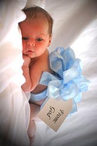 Обои Новорожденный с синим бантом (From God)