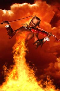 Аватар вконтакте Рогатый демон играющий на огненной скрипке.