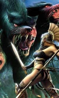 Обои девушка воюет  с огромными волками