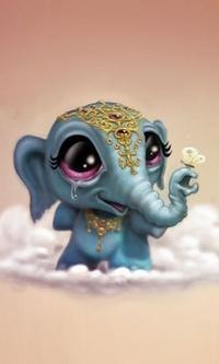 Аватар вконтакте Милый печальный слоник с бабочкой