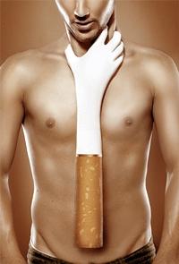 Обои Обнаженного парня душит женская рука в виде сигареты