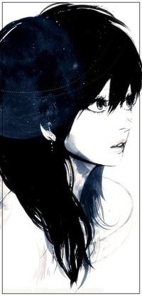 Аватар вконтакте Портрет девушки в профиль, нарисованный в черно-белых тонах, art by Takenaka aka Dahlia