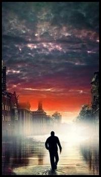 Обои Мужчина идёт в туманный город