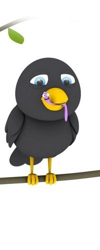 Аватар вконтакте Птичка на ветке с червяком