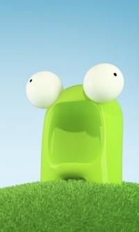 Обои Зелёное чудо с глазами