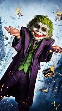 Обои Карикатура на Хита Леджера в роли Джокера в фильме Бэтмен: темный рыцарь.