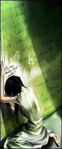 Аватар вконтакте Девушка сидит склонив голову опираясь руками о зелёную исписанную стену