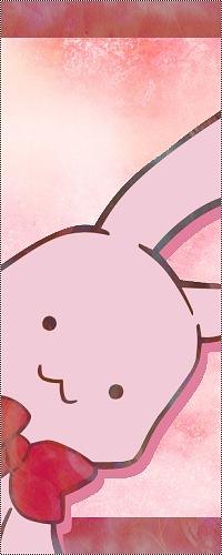 Обои Кавайный розовый кролик с красным бантиком на шее