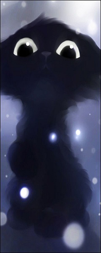 Аватар вконтакте Чёрный котёнок зимой by Apofiss