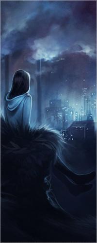 Аватар вконтакте Девушка ночью сидит на пригорке и смотрит на город вдали