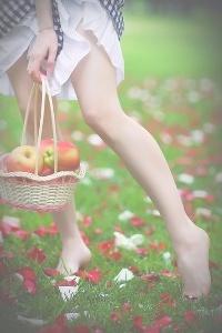 Обои Девушка с корзиной яблок на природе