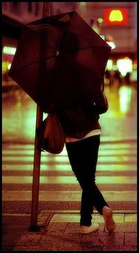 Обои Девушка с чёрным зонтом в городе