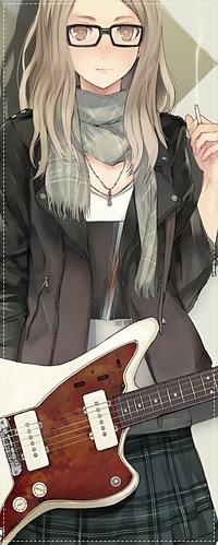 Обои Девушка в очках с сигаретой и гитарой
