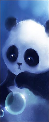 Аватар вконтакте Грустный панда смотрит на пузырь