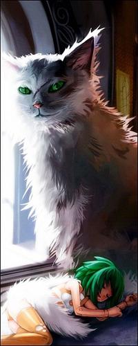Аватар вконтакте Большой кот с ярко зелёными глазами охраняет спящую девочку с ярко зелёными волосами