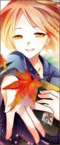Аватар вконтакте Natsume Takashi / Нацумэ Такаси из аниме Тетрадь дружбы Нацумэ / Natsumes Book of Friends / Natsume Yuujinchou ловит опавший кленовый лист