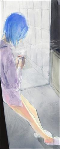 Аватар вконтакте Rei Ayanami / Рей Аянами из аниме 'Евангелион / Evangelion' в рубашке и мягких белых тапочках с чашкой горячего напитка в руках