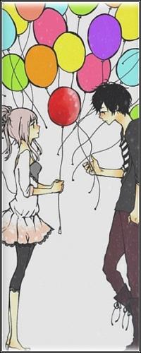 Аватар вконтакте Вокалоид Мегурине Лука и парень с воздушными шариками (арт на песню и клип Jast be Friends)