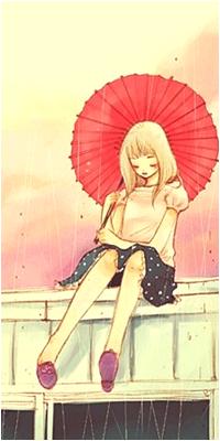 Аватар вконтакте Грустная девушка с красным зонтиком сидит на крыше дома в дождь