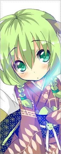 Девочка аниме с зелеными волосами