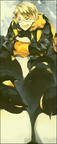 Обои Весёлый Америка-кун из аниме Хеталия и страны Оси обнимает пингвина
