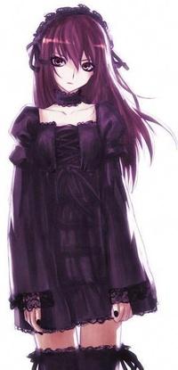 девушка аниме в платье и чулках