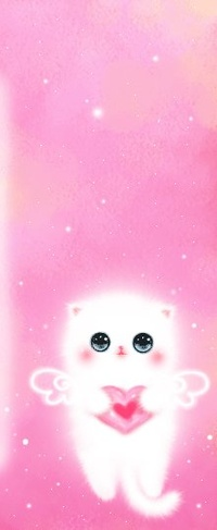 Аватар вконтакте Котёнок-ангелок играет сердечком