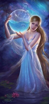 99px.ru аватар Девушка с аквариумом, из которого вылетают медузы
