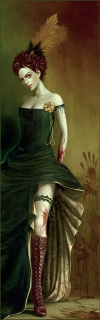 Аватар вконтакте Девушка с перьями в причёске, на ней кровь и кровавые отпечатки рук на стене