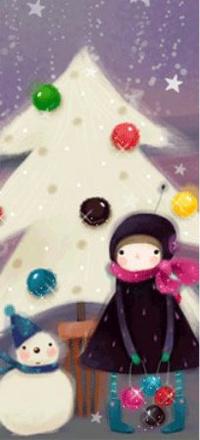 Аватар вконтакте Девочка стоит под ёлкой, украшенной шарами, рядом снеговичок