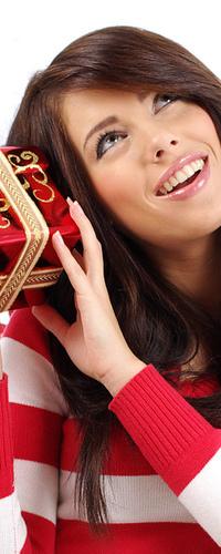 Аватар вконтакте Девушка с подарком на Новый Год