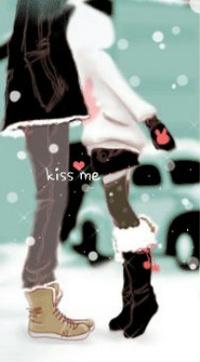 Аватар вконтакте Поцелуй под падающим снегом (kiss me)
