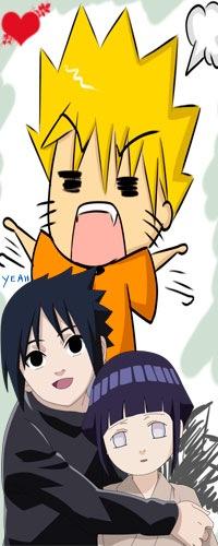 Аватар вконтакте Саске Учиха обнимающий Хинату Хьюга и разъярённый Наруто из аниме Naruto