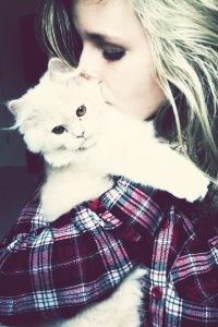 Аватар вконтакте Девушка с белым котом на руках