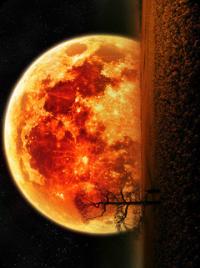 Аватар вконтакте Одинокое дерево на фоне огненной луны