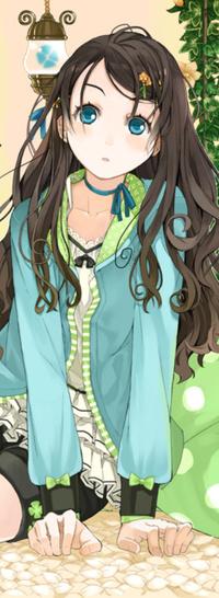 Аниме девушка с чёрными волосами и зелёными глазами