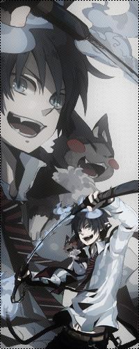 Аватар вконтакте Okumura Rin / Рин Окумура из аниме «Синий Экзорцист / Ao no Exorcist» с демоническим мечом Курикара (Комакэн) и Куро